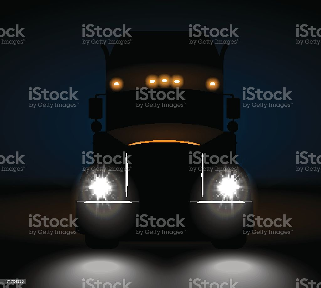 realistic truck front view at night vector art illustration