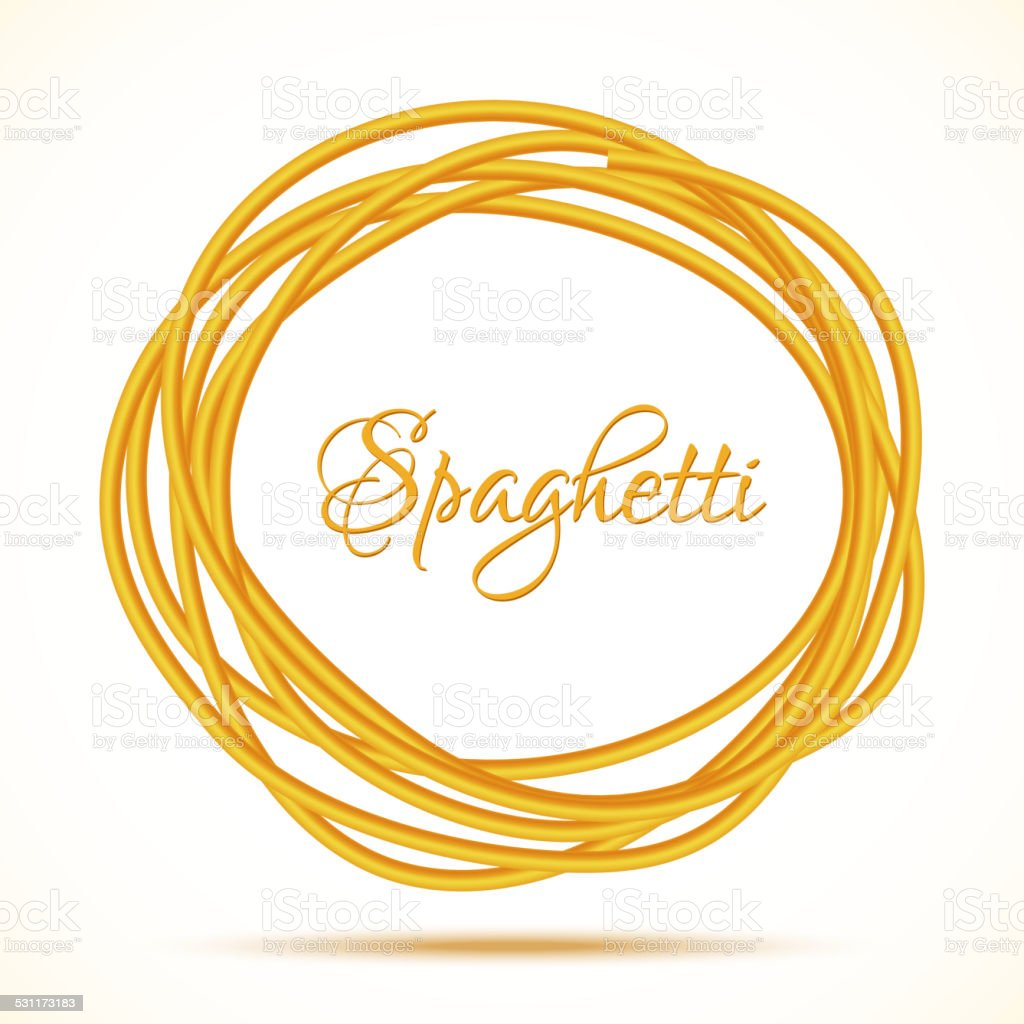 Realistic Twisted Spaghetti Pasta Circle Frame vector art illustration