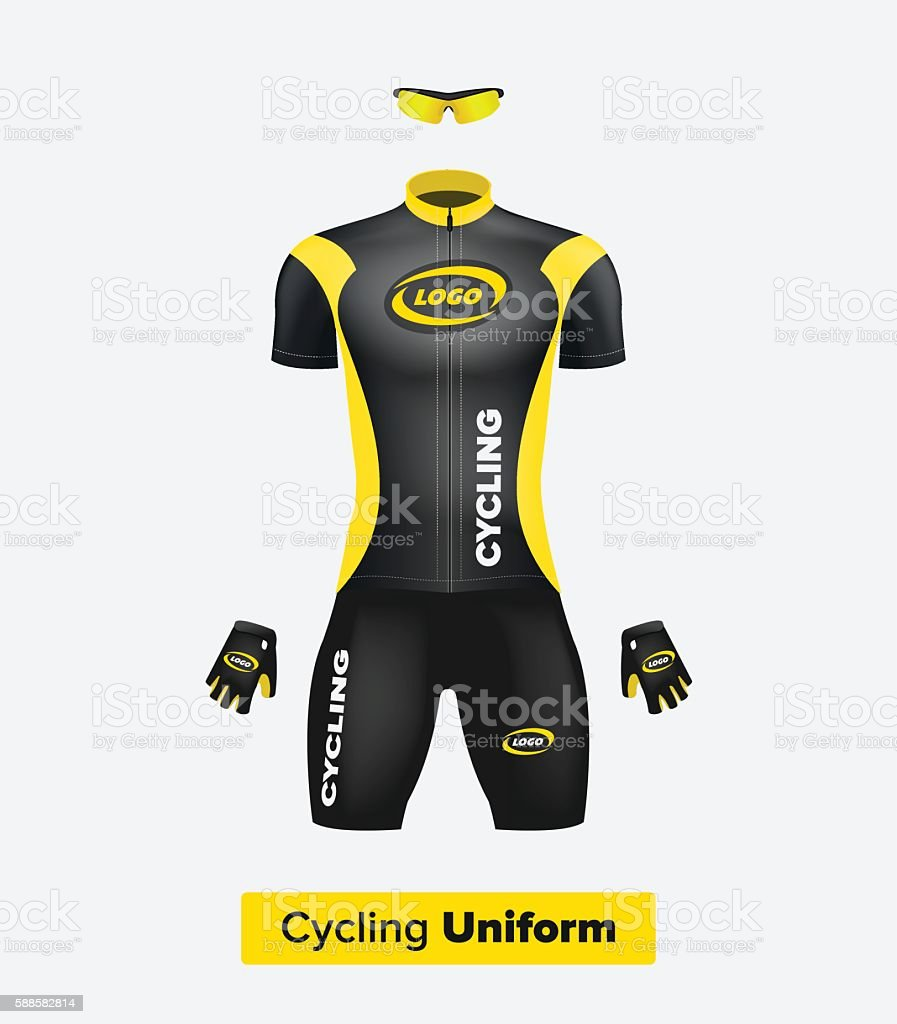 Realistic vector cycling uniform template. Black and yellow. vector art illustration