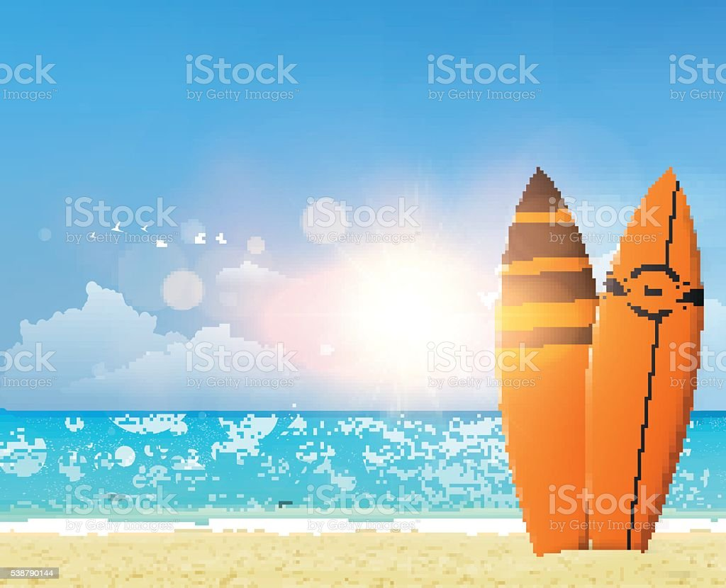 Realistic Vector illustration of beach with surfboards, vector art illustration