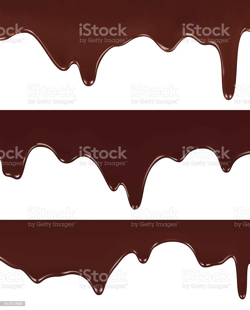 Realistic vector illustration of melted chocolate dripping vector art illustration