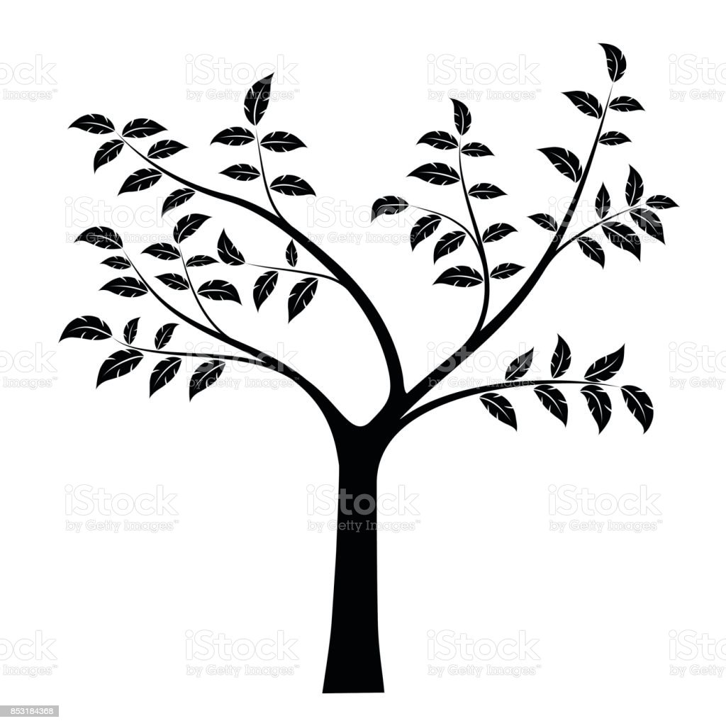 Realistic vector illustration of tree with branches and leaves, isolated on white background vector art illustration