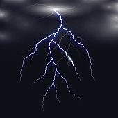 Realistic vector lightning  on checkered background