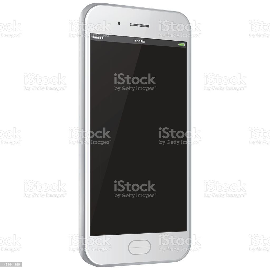 Realistic Vector Mobile Phone - White vector art illustration