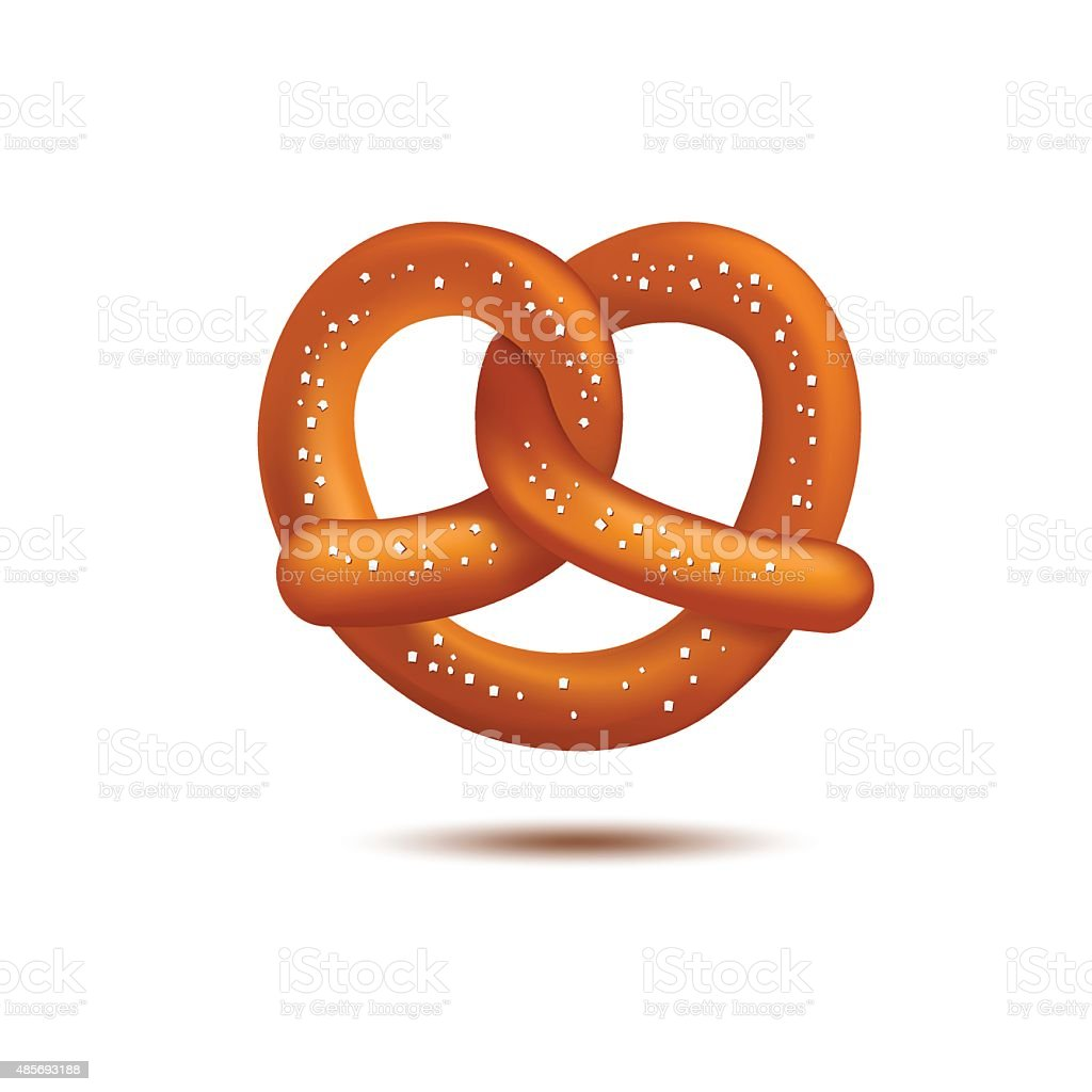 Realistic vector pretzel on the white background vector art illustration