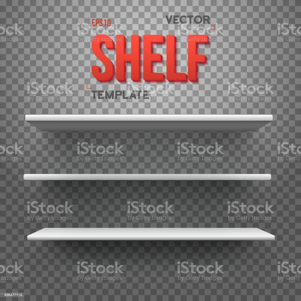 Realistic Vector Shelf. EPS10 Empty Shelf for Store, Exhibitions vector art illustration