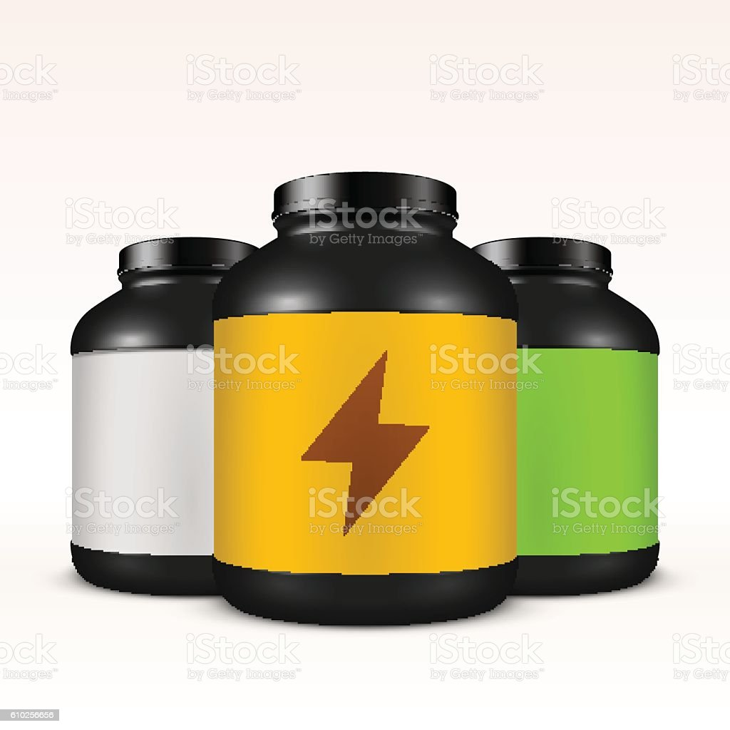 Realistic vector sport nutrition container template. vector art illustration