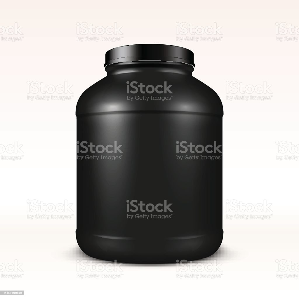 Realistic vector sport nutrition container without label. vector art illustration