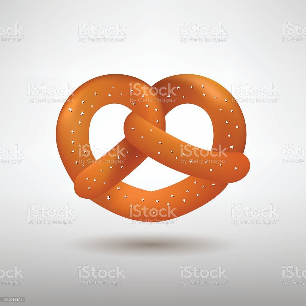 Realistic vector tasty pretzel vector art illustration