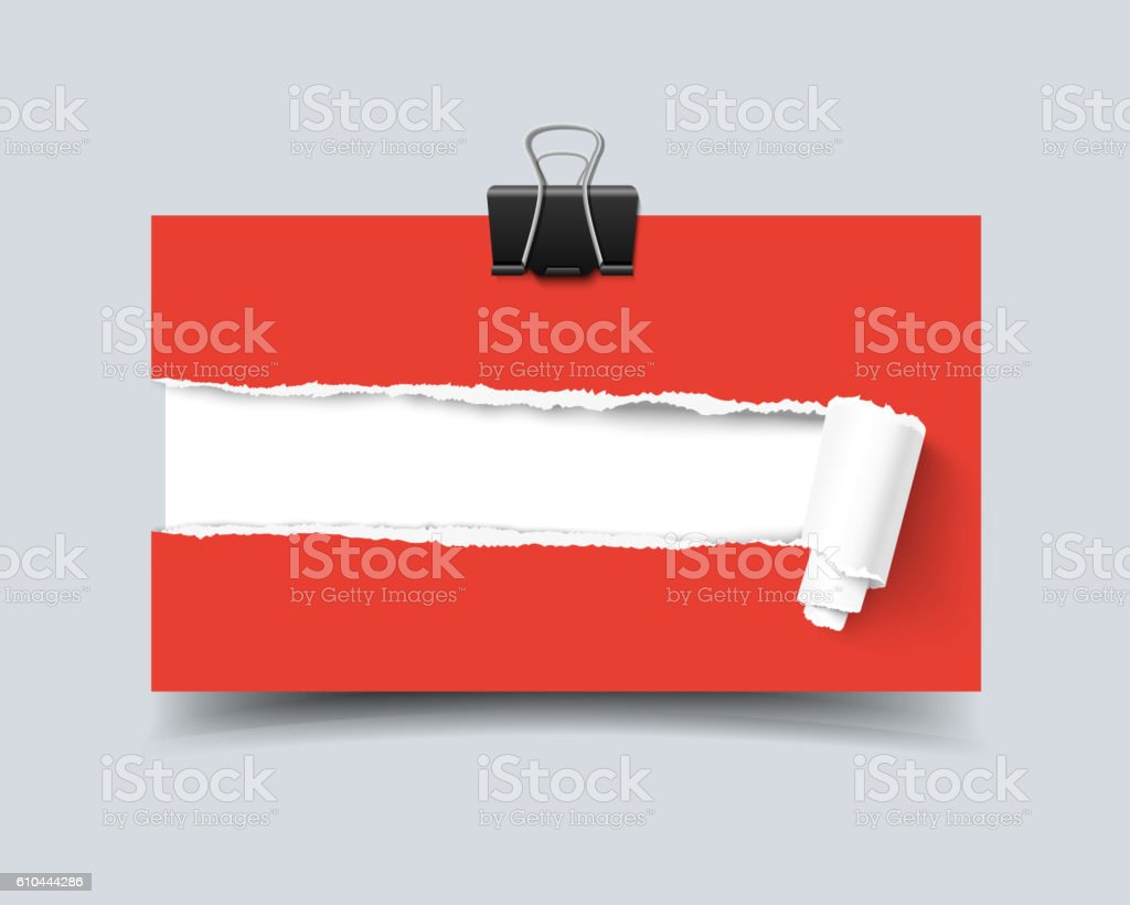 Realistic vector template business card hole in paper with torn vector art illustration