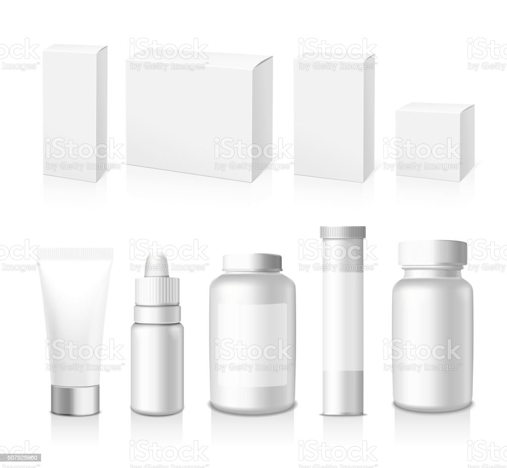 Realistic vector Tubes, Jar And Package. vector art illustration