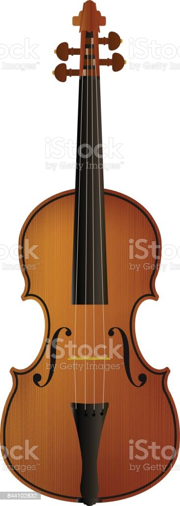 Realistic violin isolated white background. vector art illustration