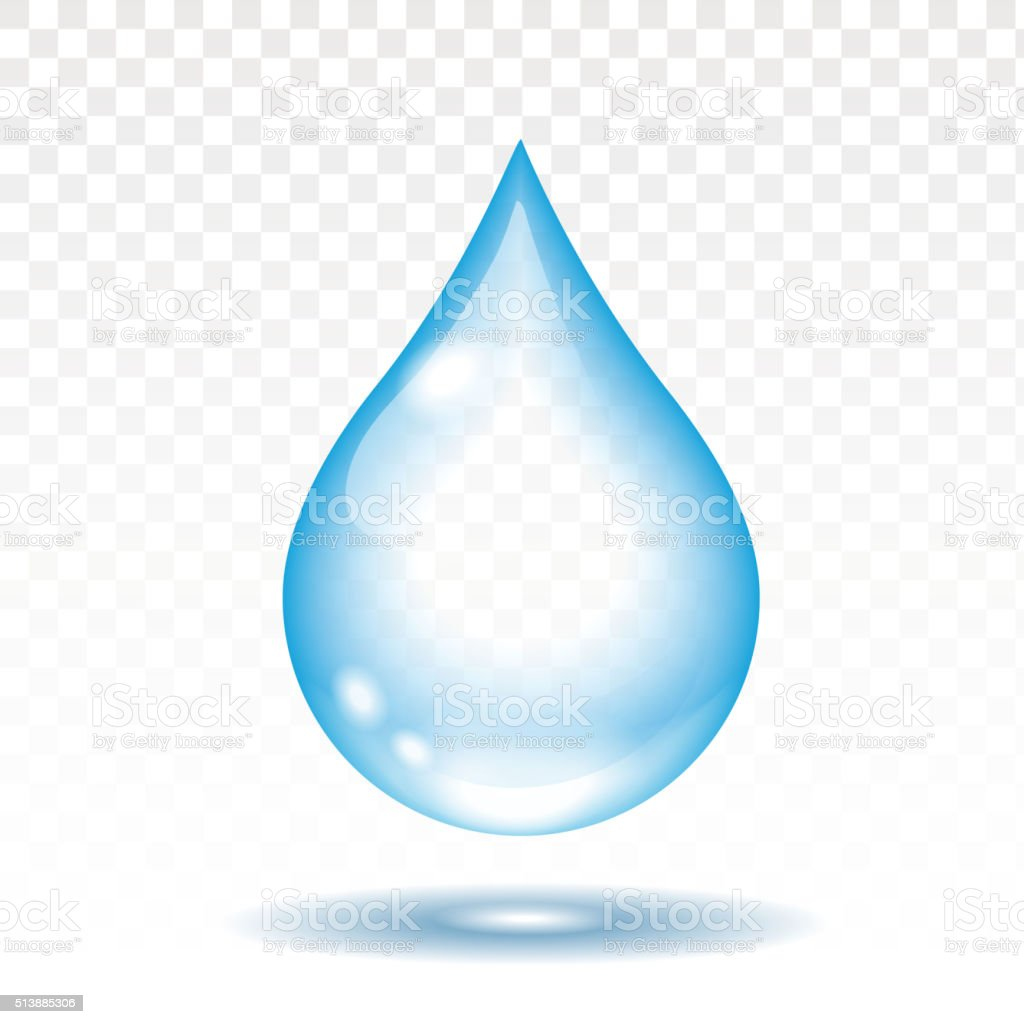 Realistic water drop isolated vector illustration,  transparency vector art illustration