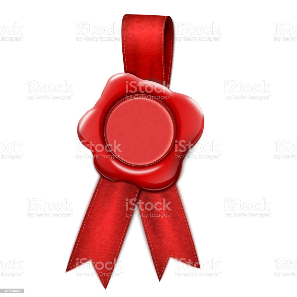 Realistic Wax Seal With Ribbons vector art illustration