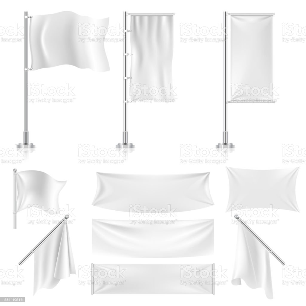Realistic white advertising textile flags and banners vector set vector art illustration