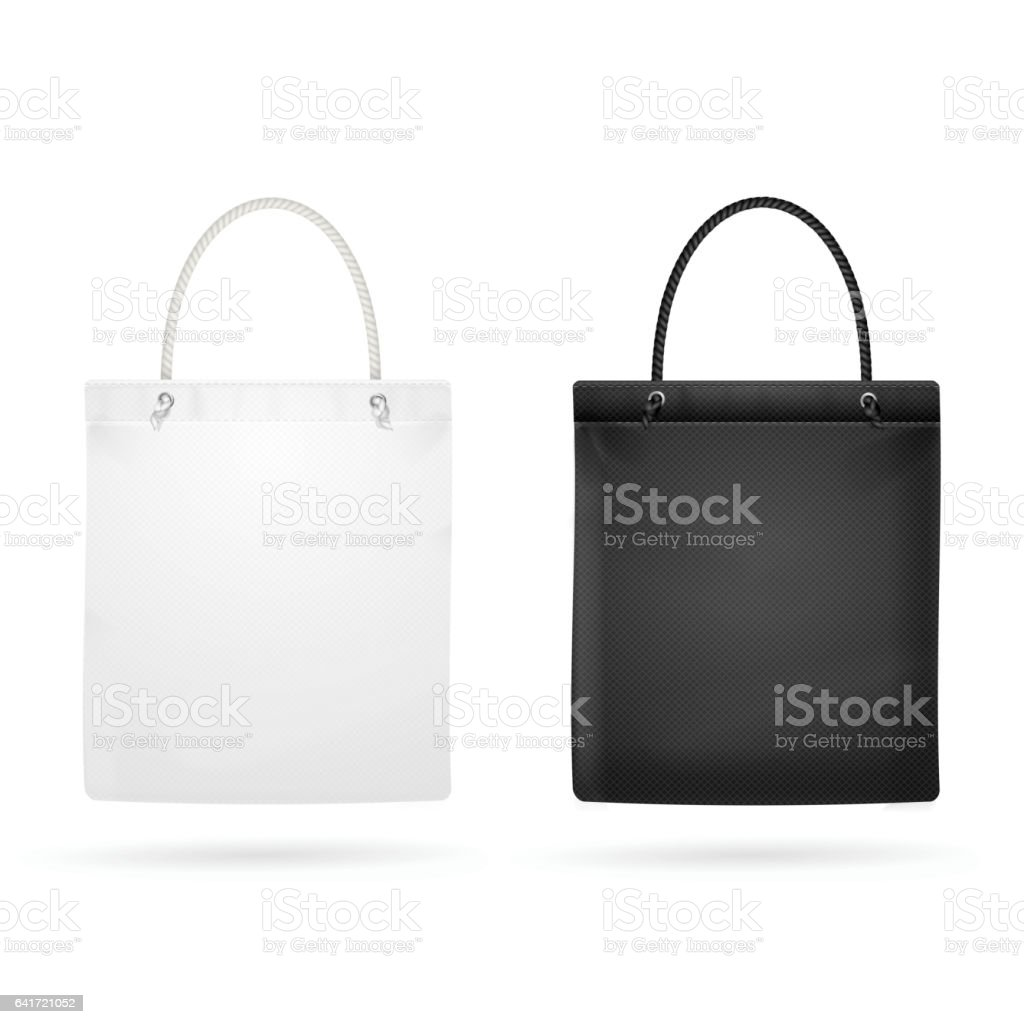 Realistic White And Black Template Blank Fabric Cloth Tote Bag ...