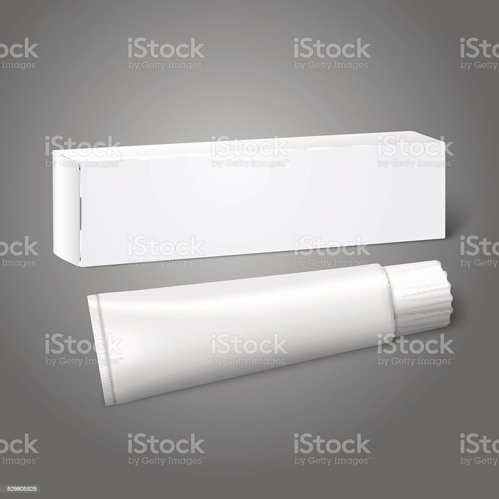 Realistic white blank paper package box with tube for oblong vector art illustration