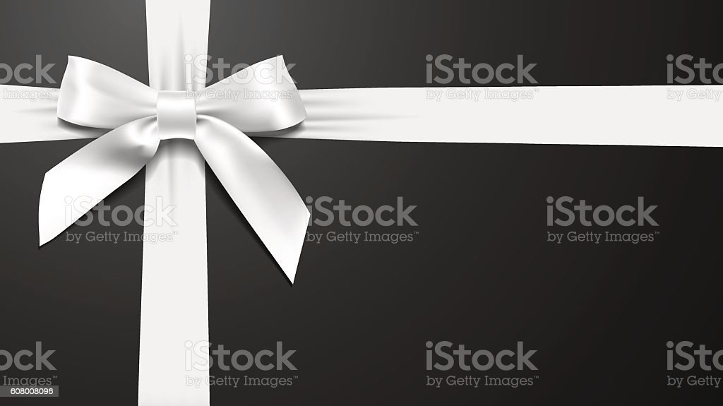 realistic White bow on a black background vector art illustration