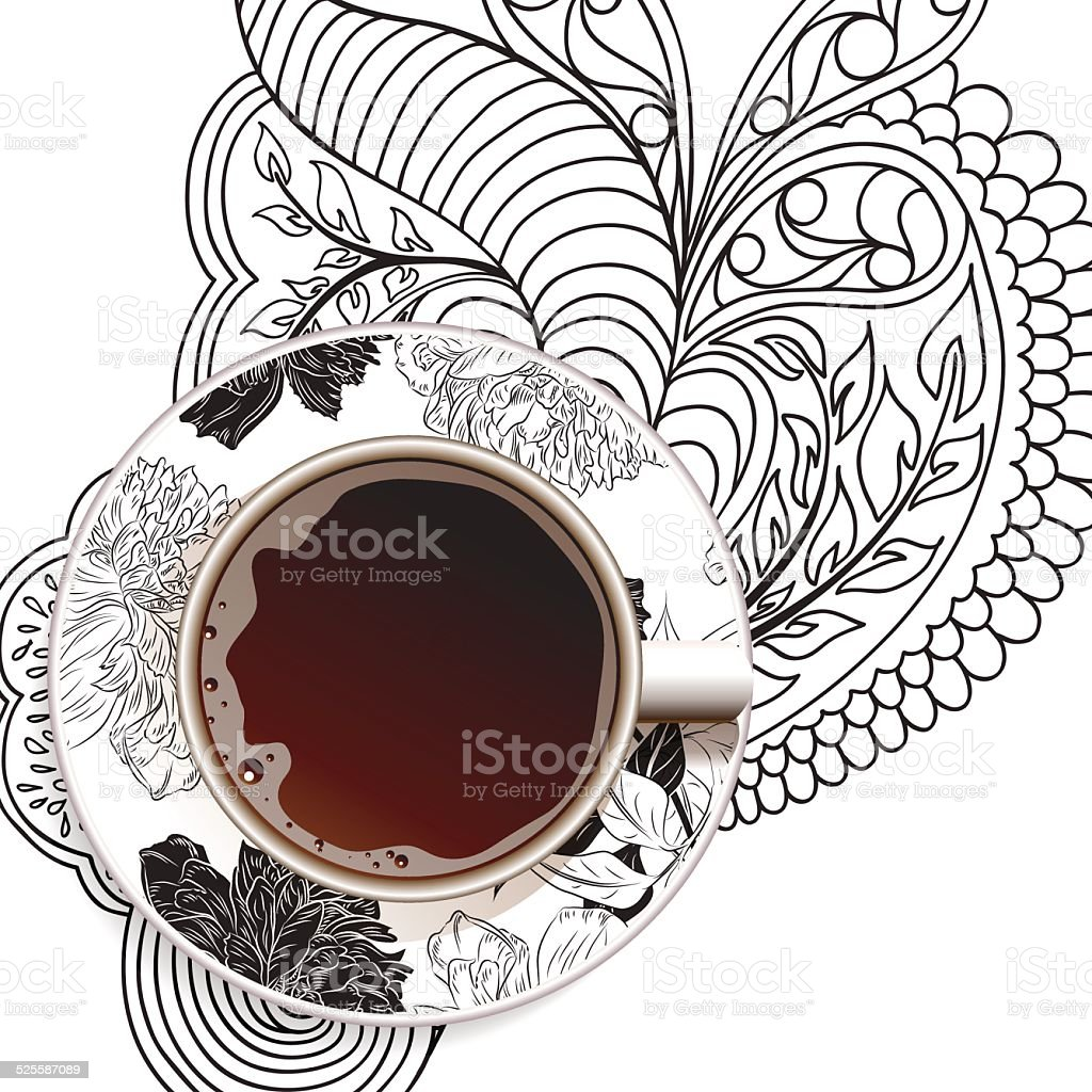 Realistic white cup of coffee on ornament and flower background. vector art illustration