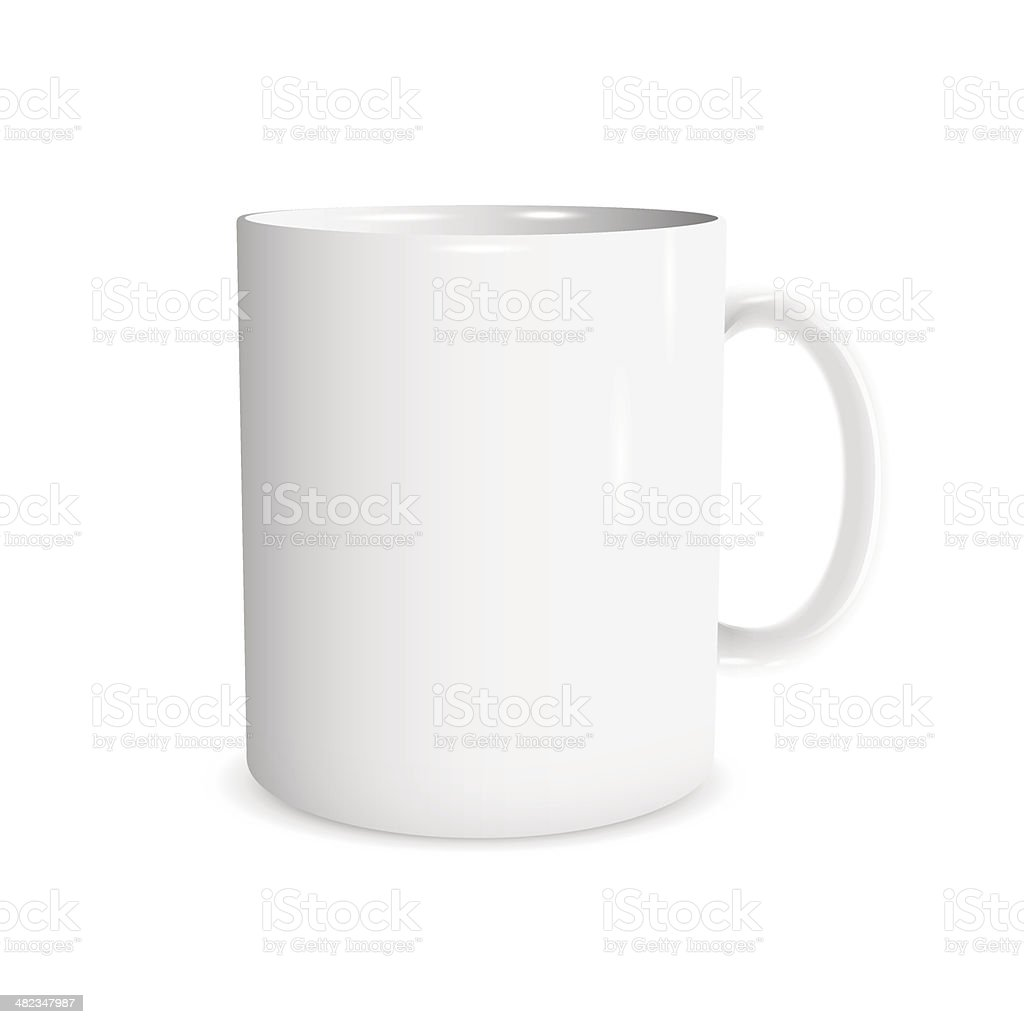 Realistic white cup vector art illustration