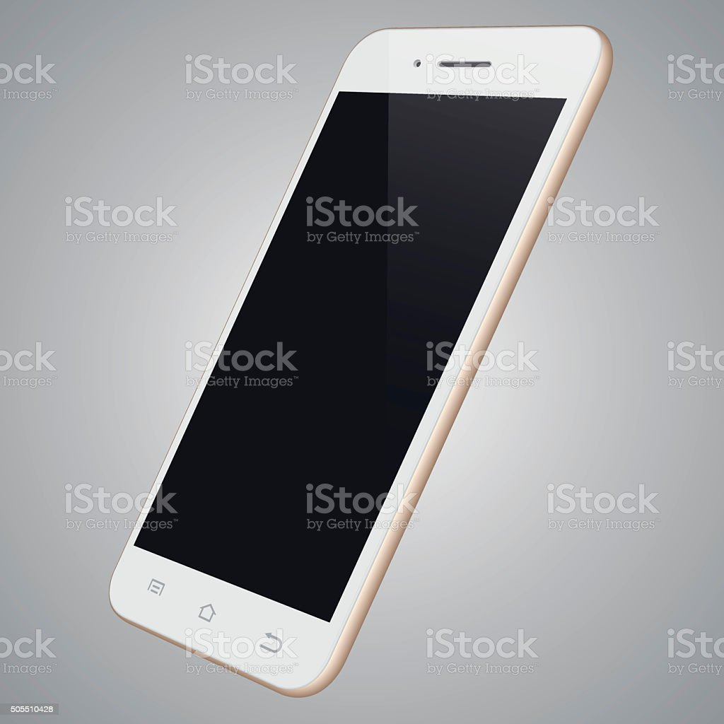 Realistic white mobile phone template vector art illustration