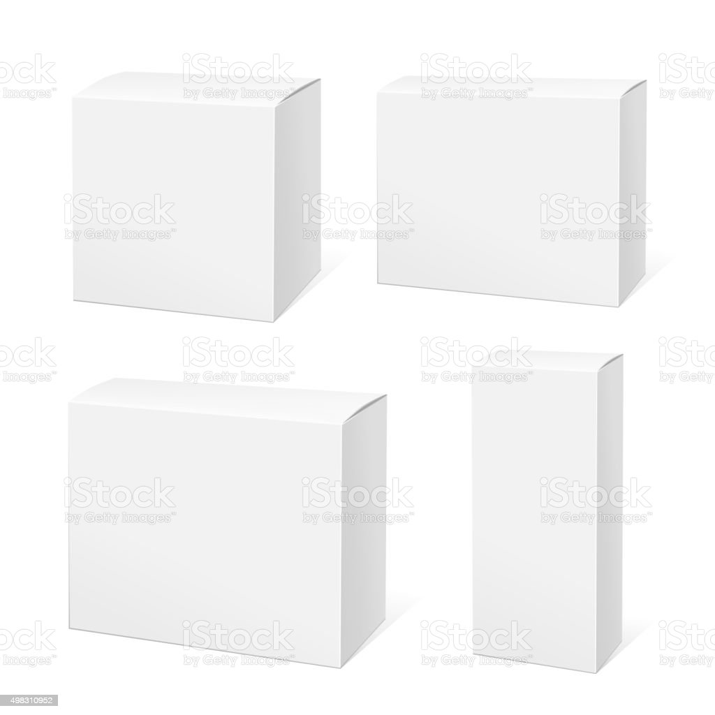 Realistic White Package Box. vector art illustration