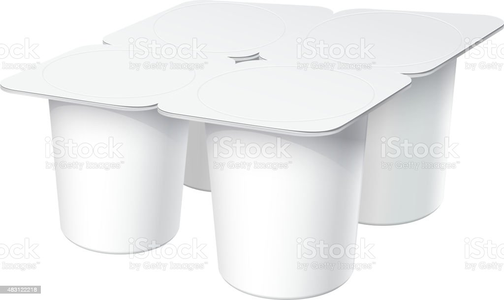 Realistic White plastic container set for yogurt vector art illustration