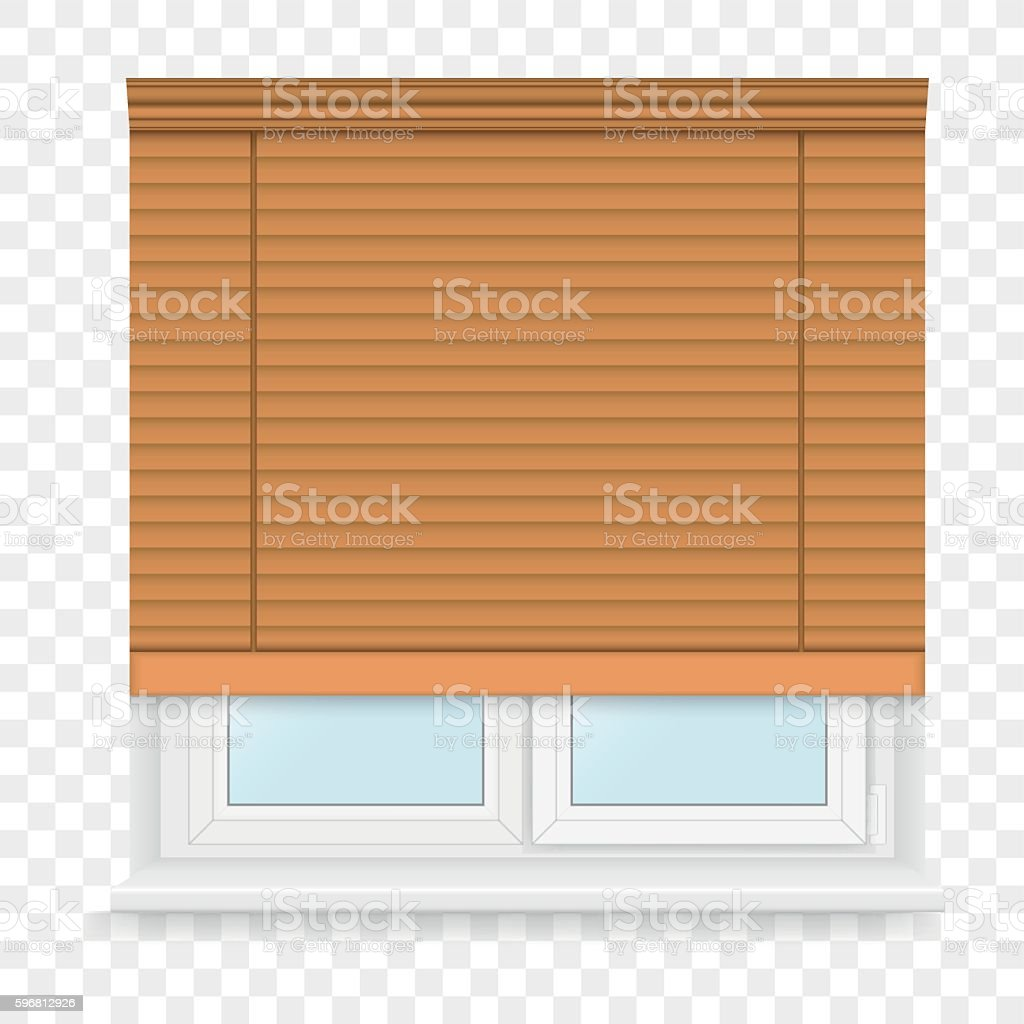 Realistic white plastic windows set with blind. Vector illustration. vector art illustration