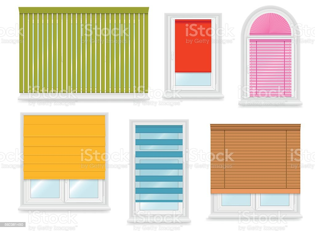Realistic white plastic windows set with different blinds. Vector illustration. vector art illustration