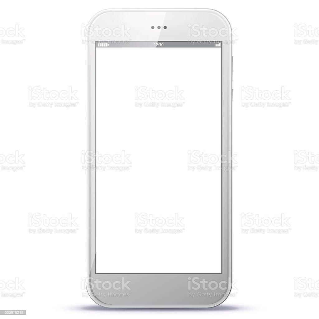 Realistic White Smart Phone Vector Illustration vector art illustration