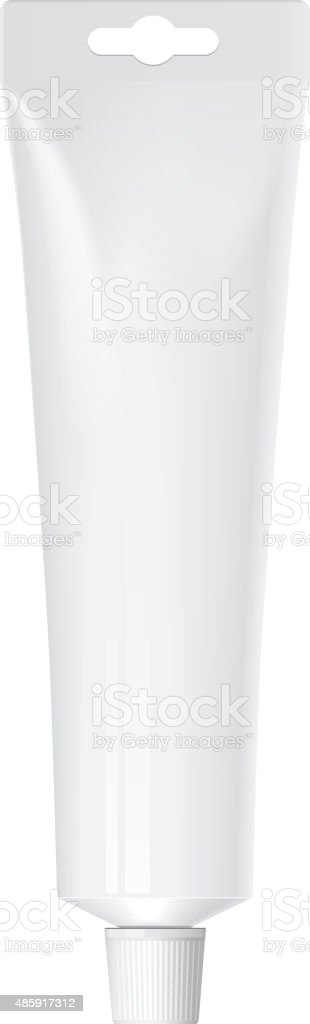 Realistic white tube. For cosmetics vector art illustration