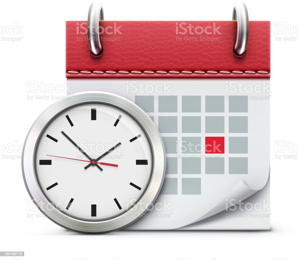 Realistic white wall clock and red calendar illustration royalty-free stock vector art