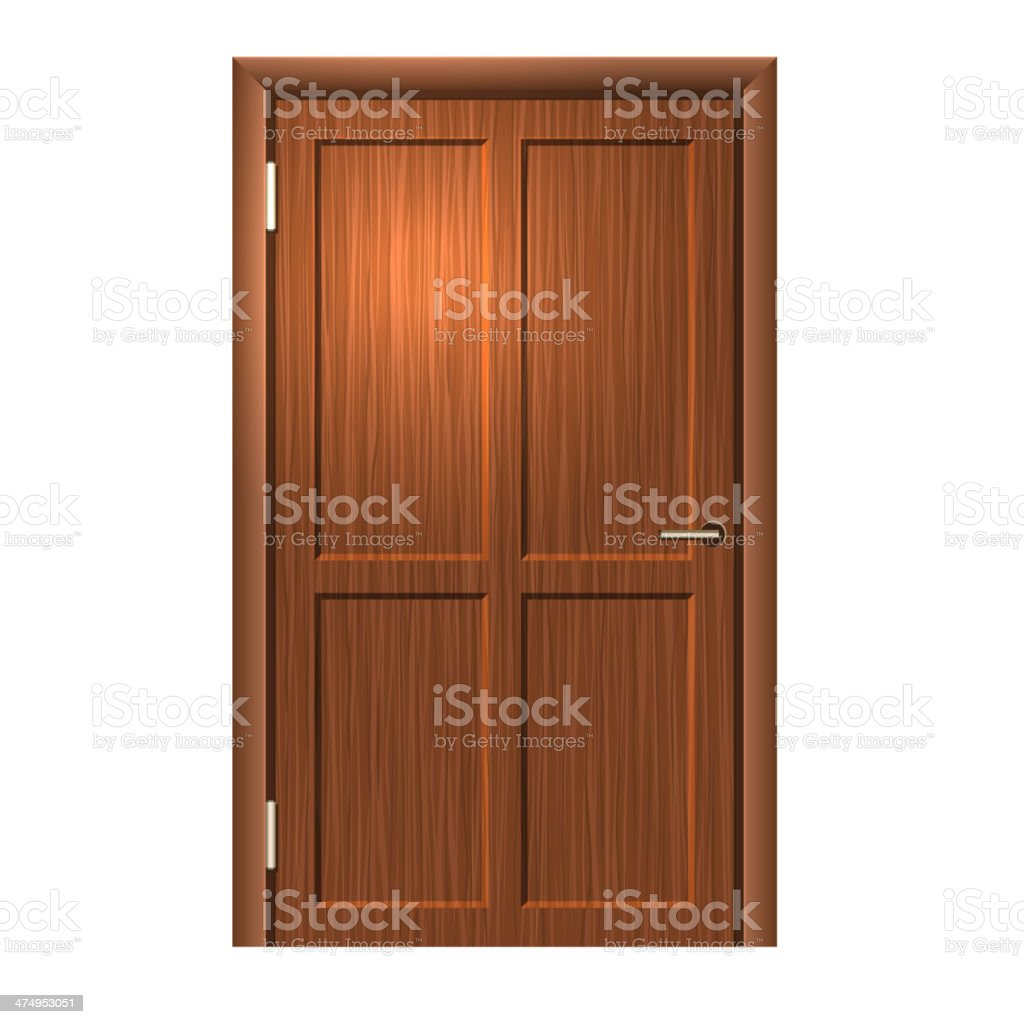 Realistic Wood door. Vector royalty-free stock vector art