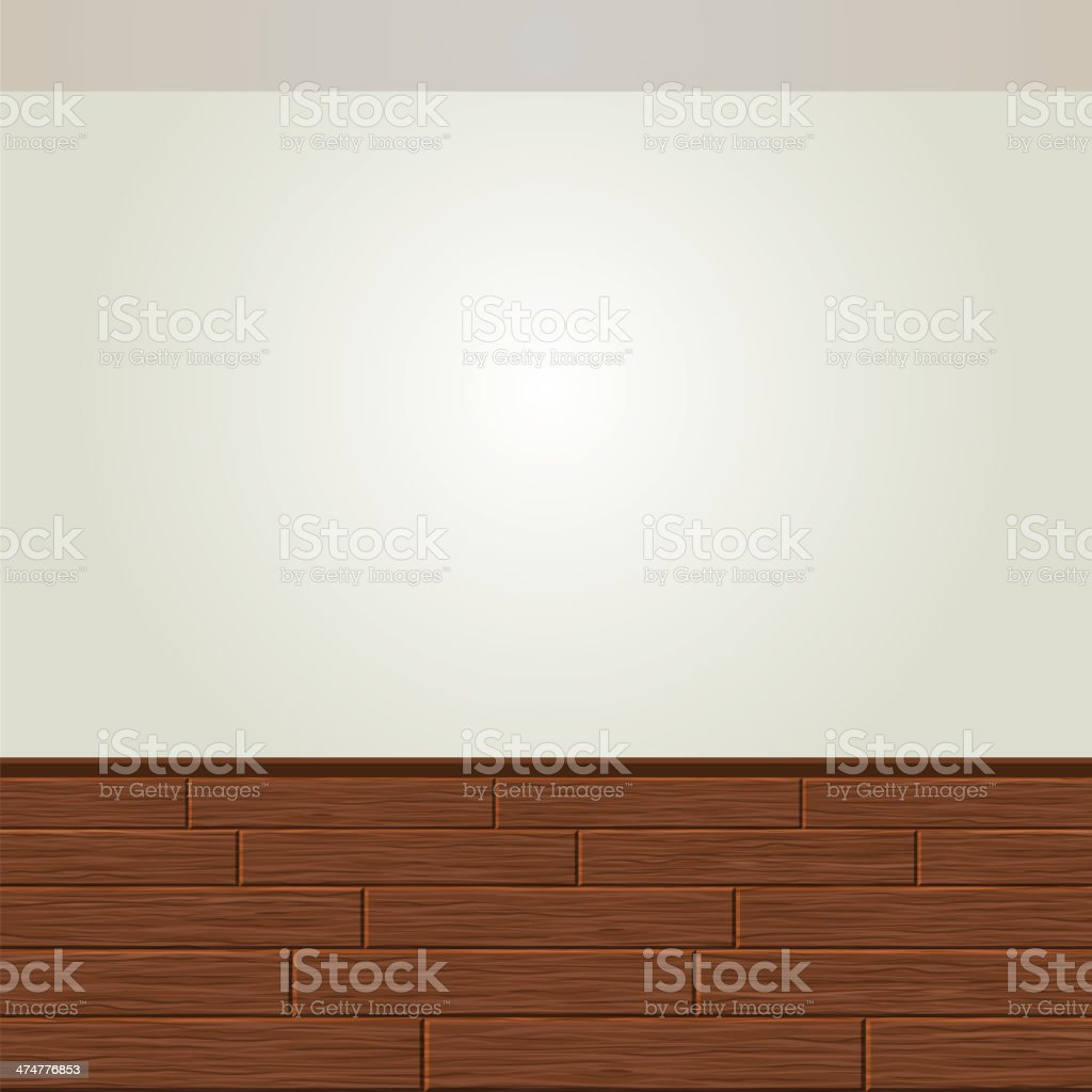 Realistic Wood Floor and White Wall royalty-free stock vector art