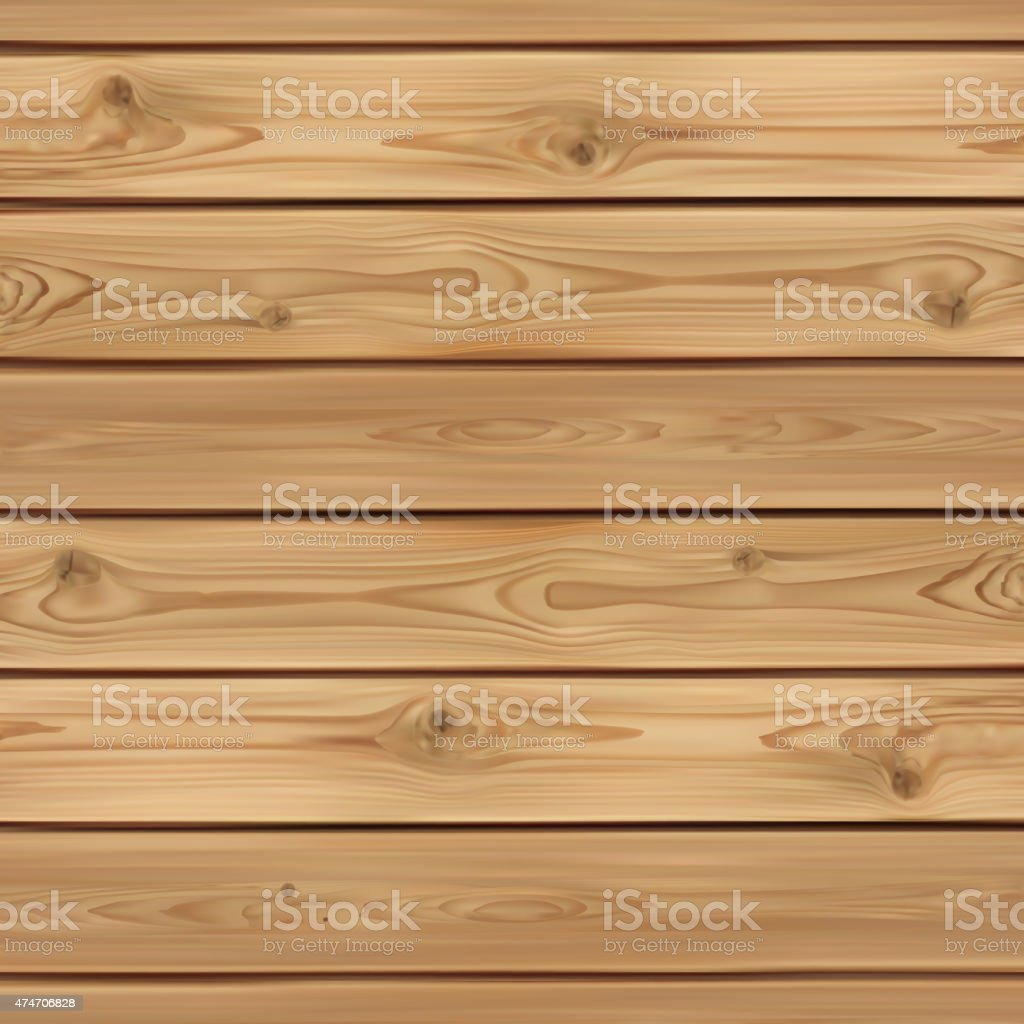 Realistic wooden background vector art illustration