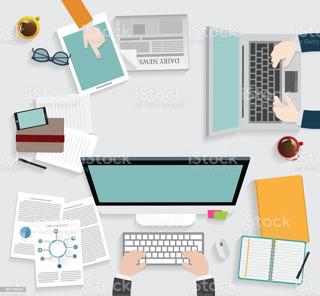 Realistic workplace organization. vector art illustration