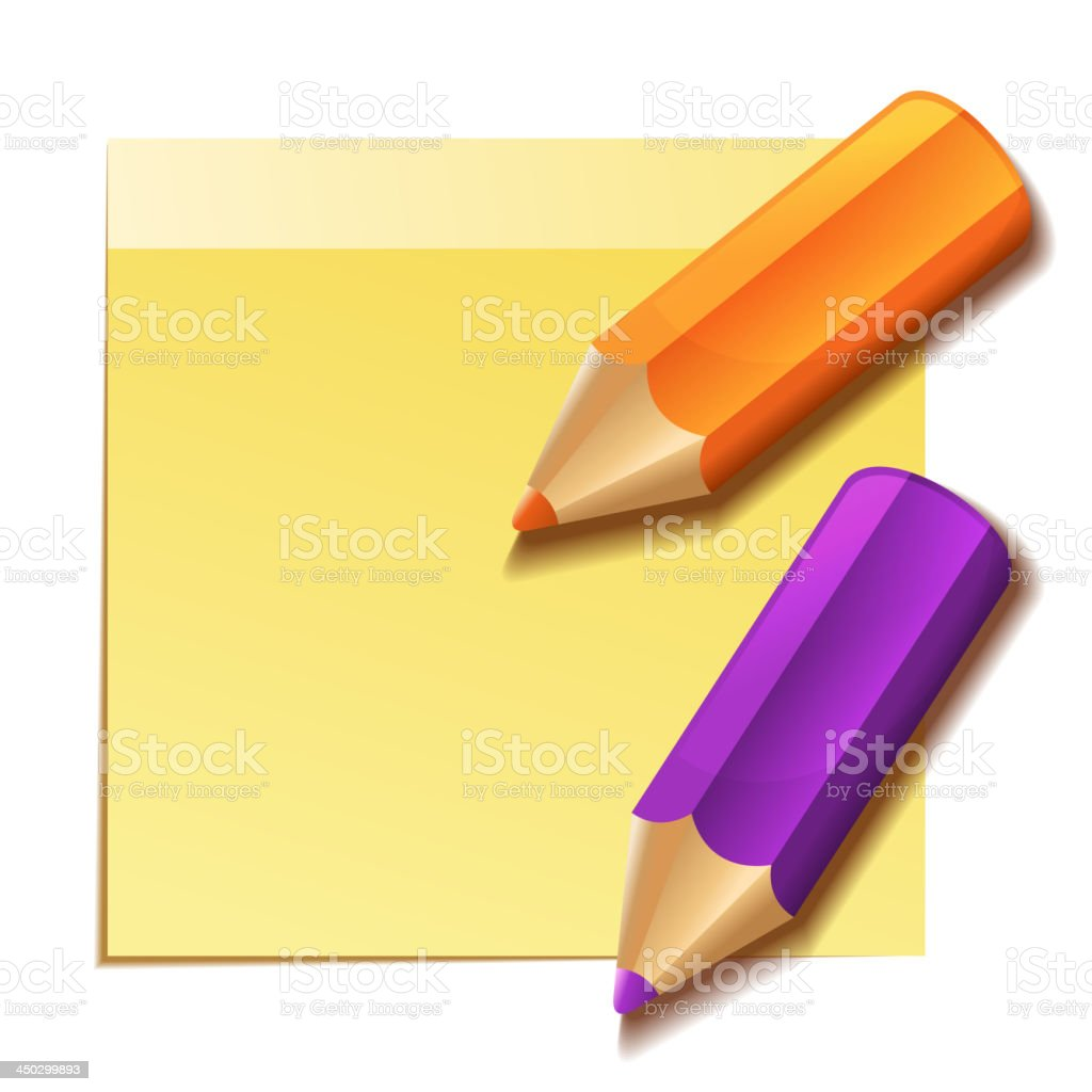 Realistic yellow stick note and two color pencils royalty-free stock vector art