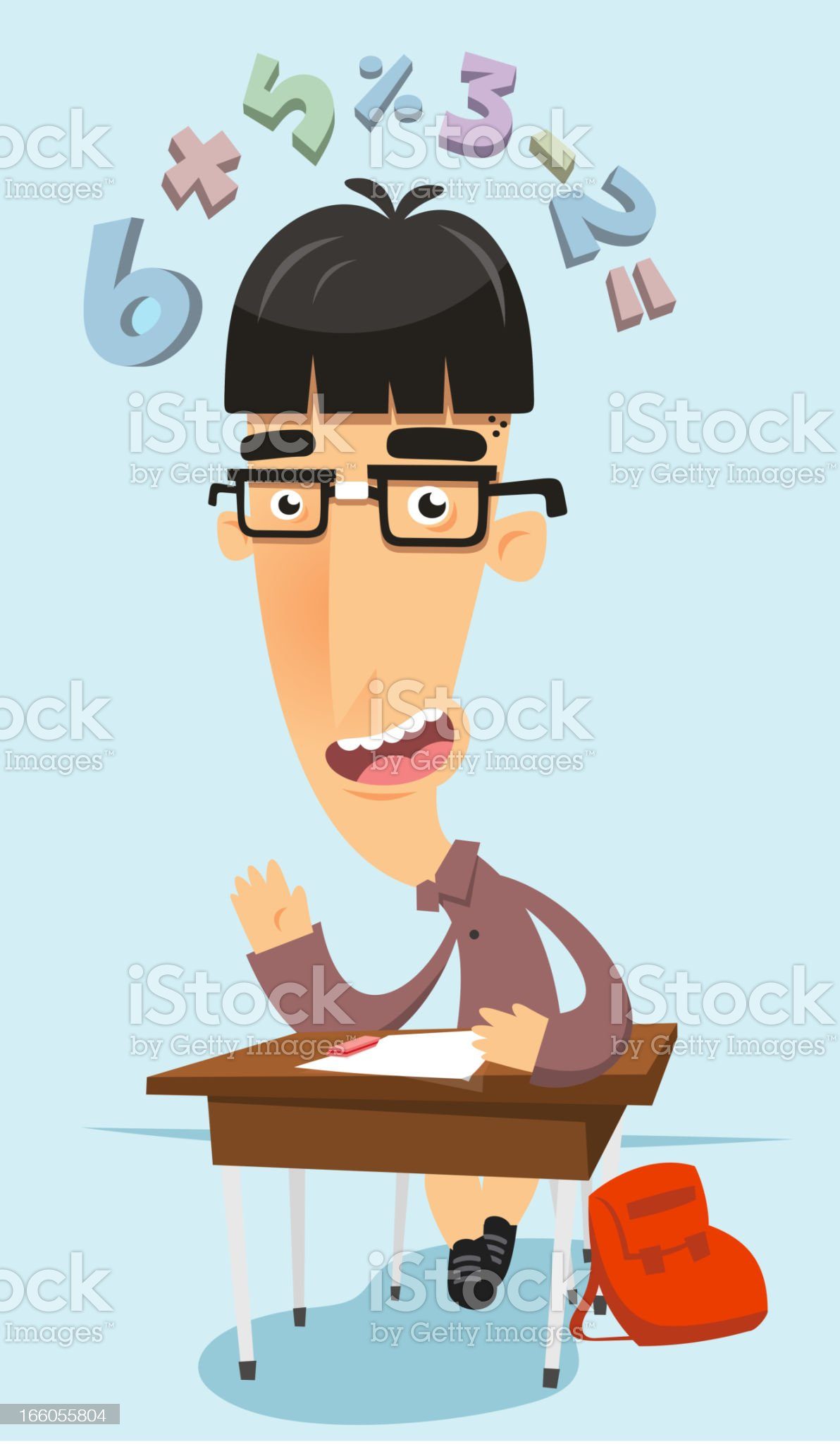 Really intelligent prodigy nerd in maths class royalty-free stock vector art