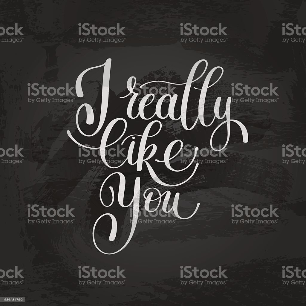 I Really Like You. Love Letter, Message Text English Handwriting vector art illustration