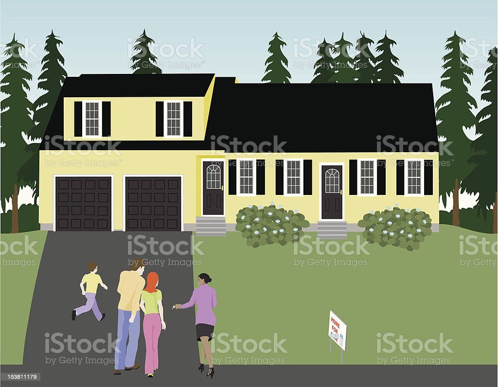 Realtor Shows House royalty-free stock vector art