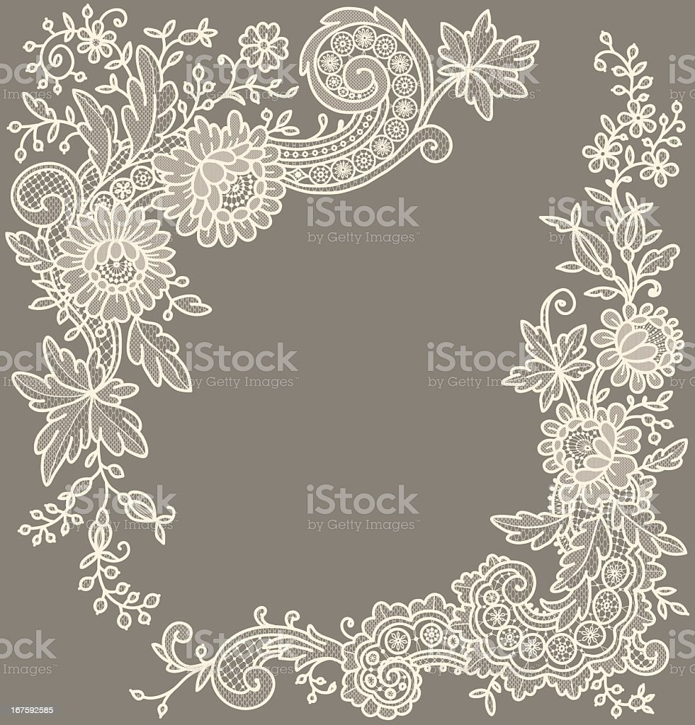 Сream-colored lace Corners. vector art illustration