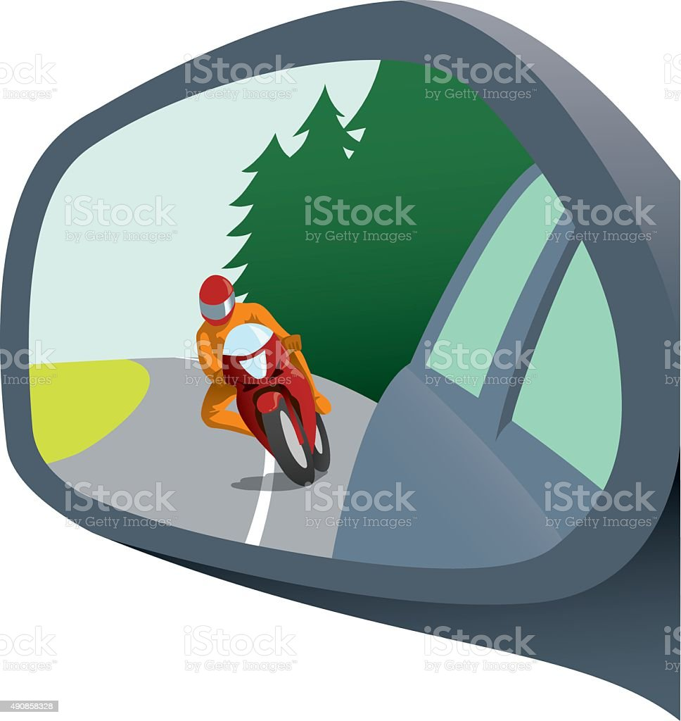 Rear view mirror with motorcycle appearing trying to pass vector art illustration