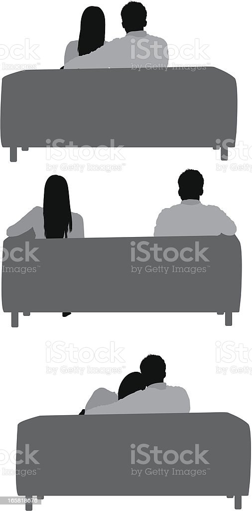 Rear view of a business couple sitting on couch vector art illustration