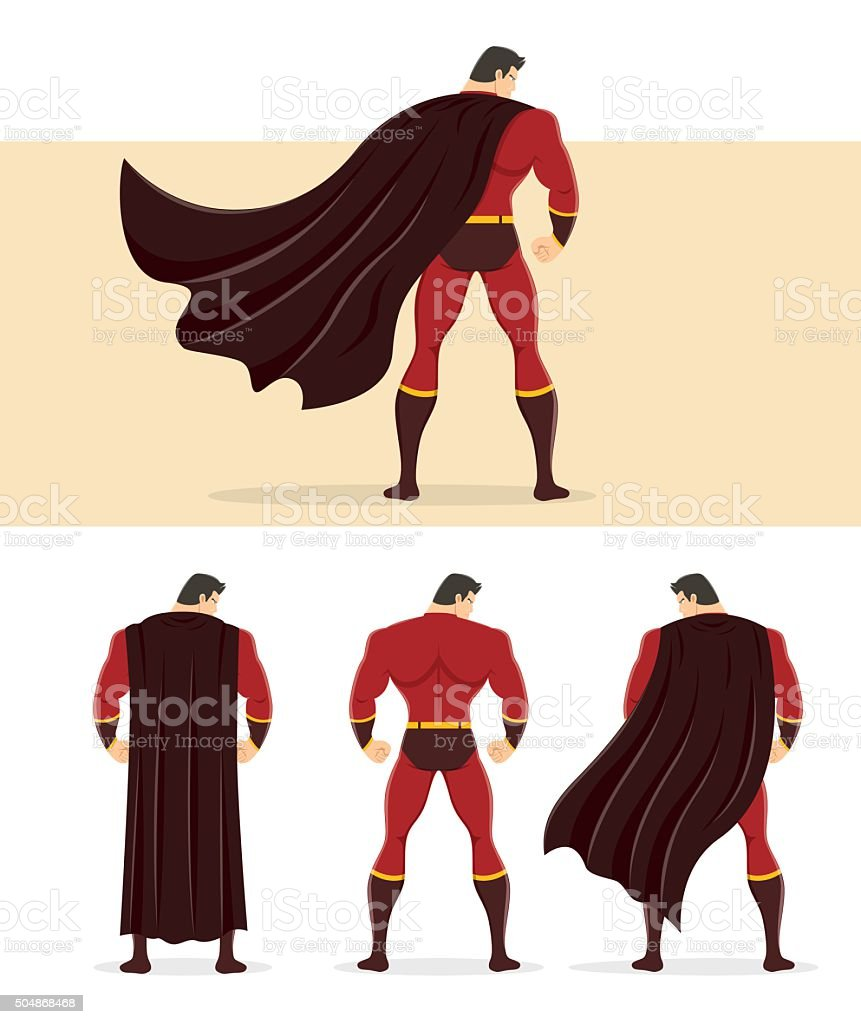 Rear View of Superhero with Cape Flowing in the Wind vector art illustration