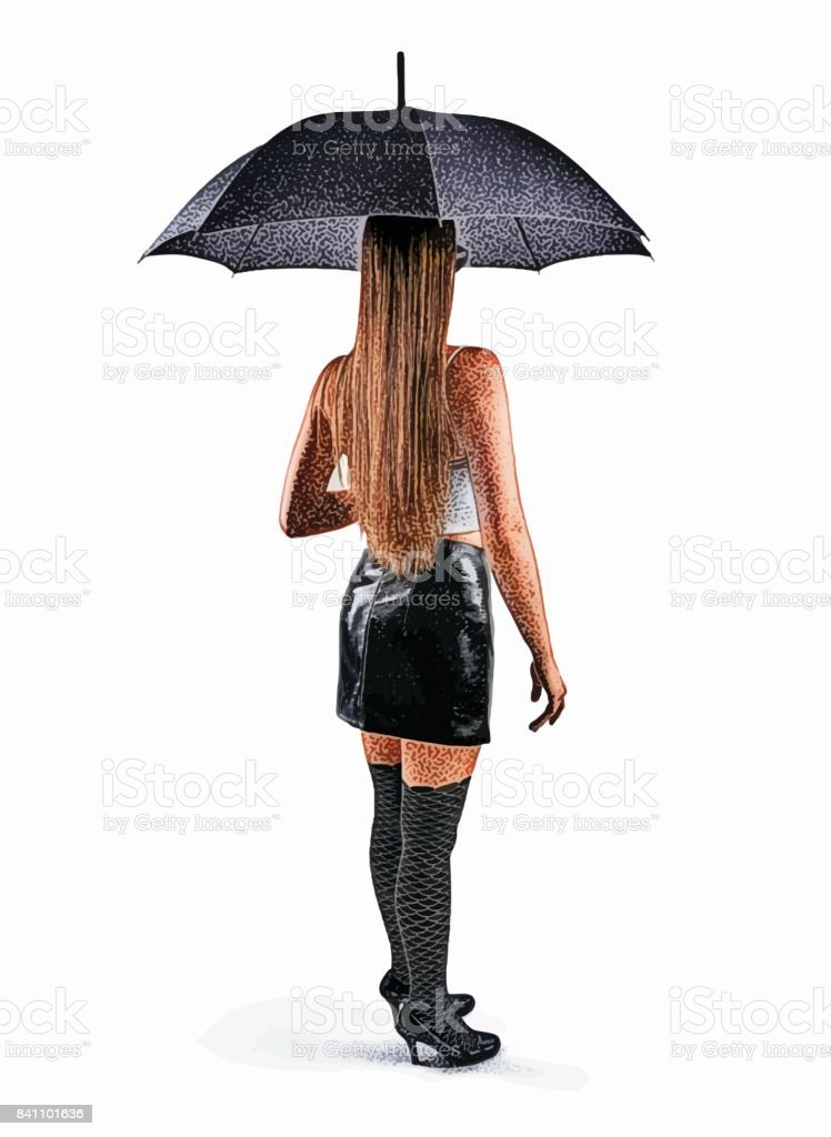 Rear view of woman holding umbrella wearing patent leather mini skirt, crop top and thigh highs vector art illustration