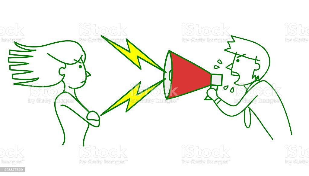 rebellious woman and man bellow with megaphone vector art illustration