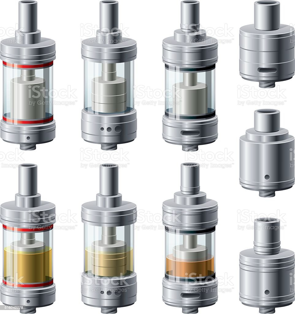 Rebuildable Vaping Atomizers, Tank and Dripper Styles vector art illustration