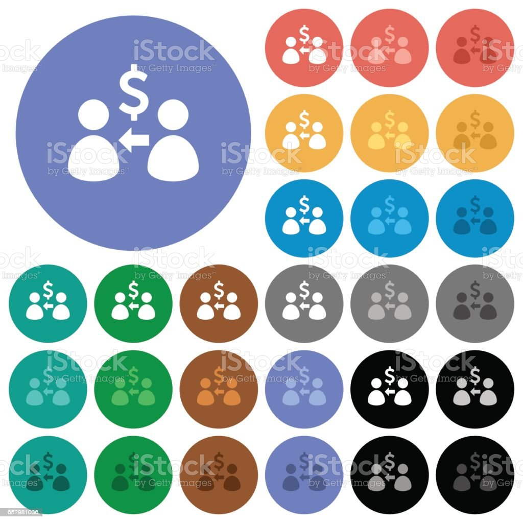 Receive Dollars round flat multi colored icons vector art illustration
