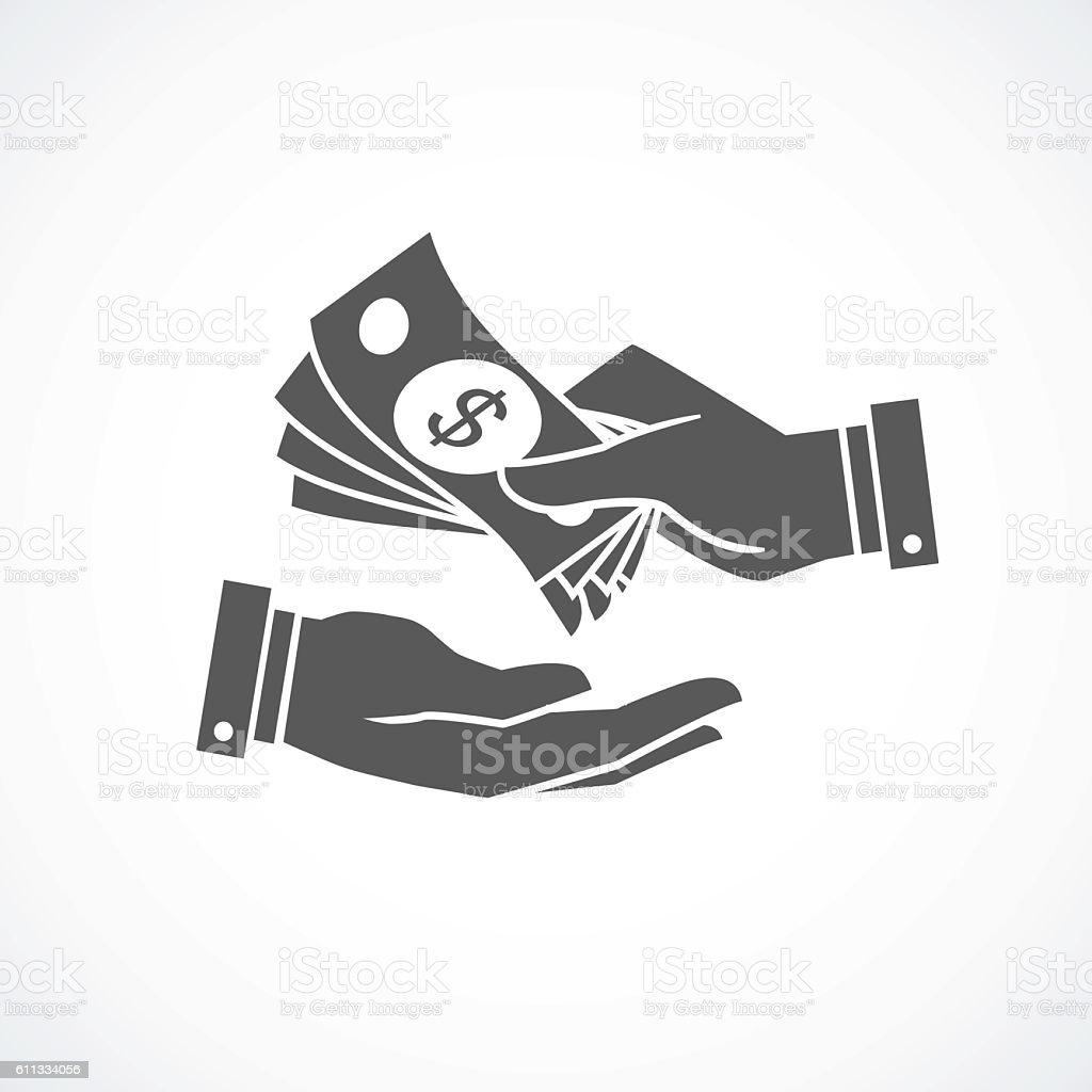 Receiving money banknotes stack icon. Vector illustration vector art illustration