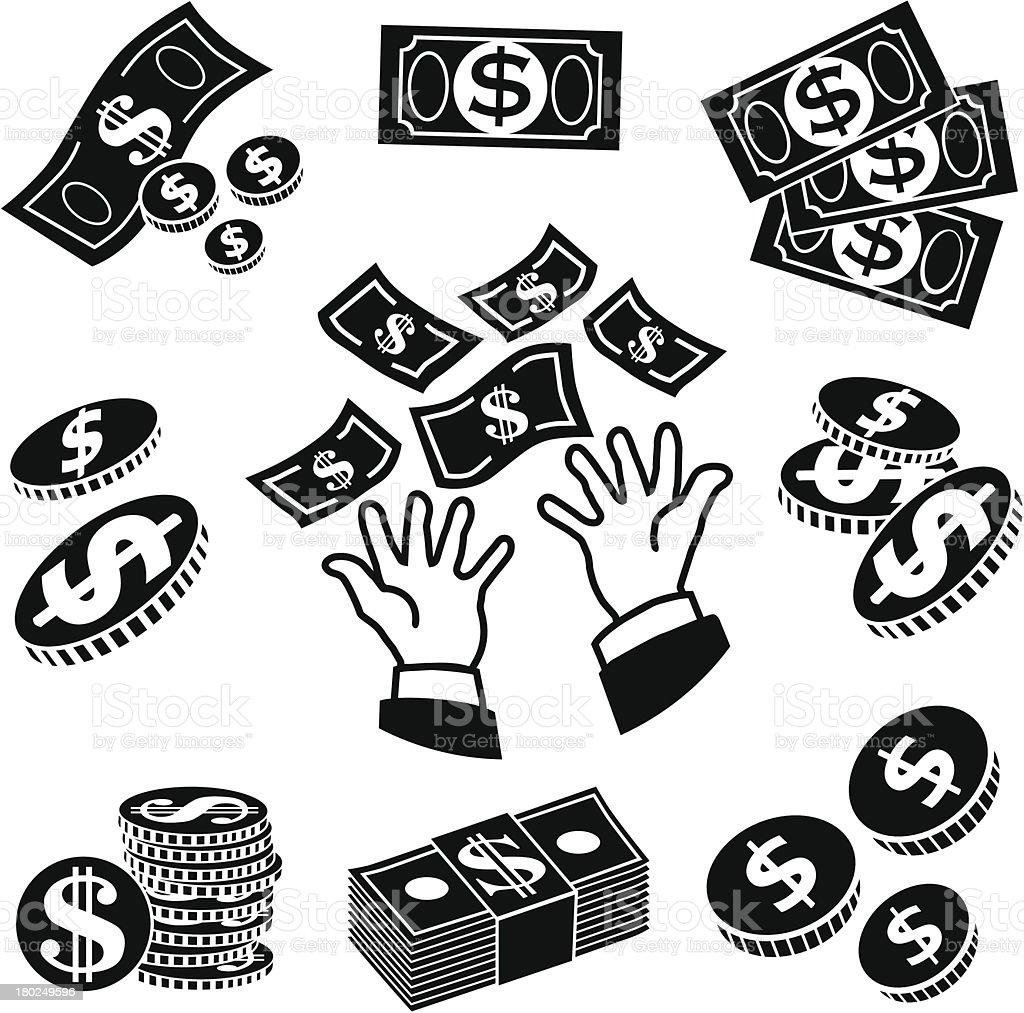 receiving money icons vector art illustration